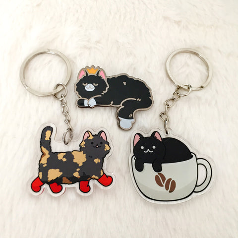 Tuxedo Cat enamel pin, Tortie Cat with boots, Coffee Cat acrylic keychain
