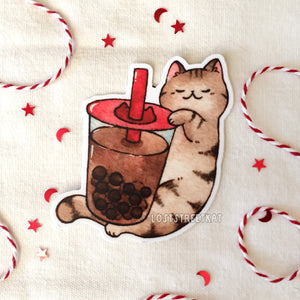 Cat with Boba Vinyl Sticker - loststreetkat