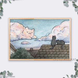 "Cat Cloud Print (12""x18"") - loststreetkat"