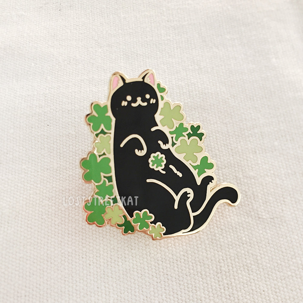Four Leaf Clover Cat Enamel Pin - loststreetkat