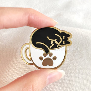 Cozy Coffee Cat (Variant 2) Hard Enamel Pin