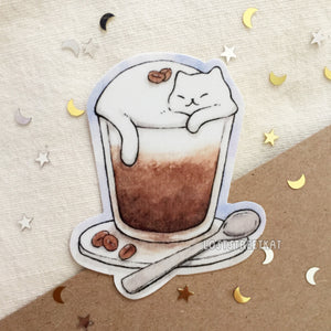 Coffee Cat Waterproof Vinyl Sticker - Loststreetkat