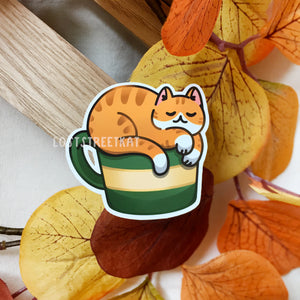 Cozy Coffee Cat Sticker (Green) - Loststreetkat