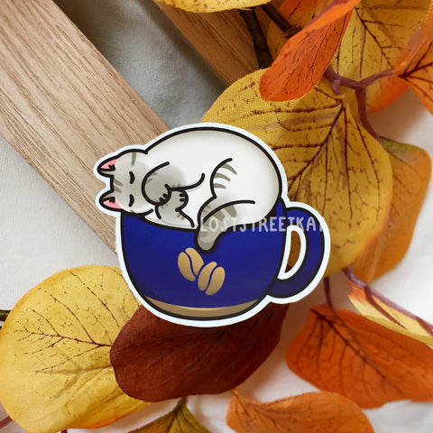 Cozy Coffee Cat Sticker (Blue) - Loststreetkat