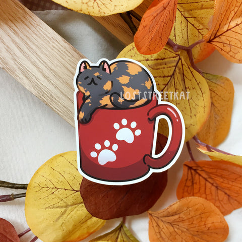 Cozy Coffee Cat Sticker (Red) - Loststreetkat