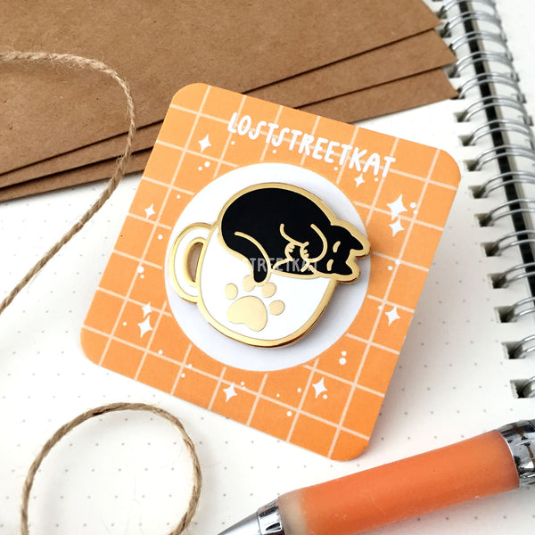 Cozy Coffee Cat (Variant 2) Hard Enamel Pin - loststreetkat