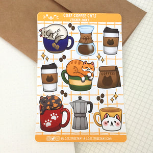 Cozy Coffee Cats Sticker Sheet