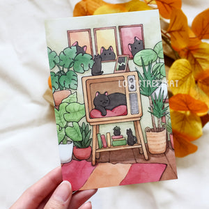 Cozy Retro Cat Postcard - Loststreetkat