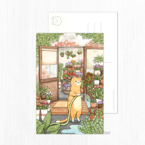 Gardening Kitty Postcard