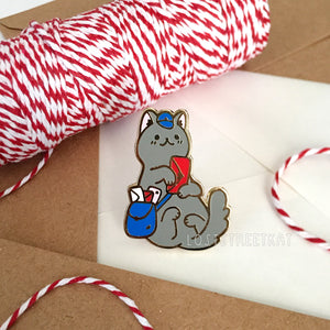 Grey Mail Kitty Enamel Pin