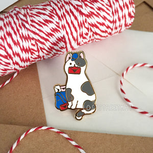 Spotted Mail Kitty Enamel Pin