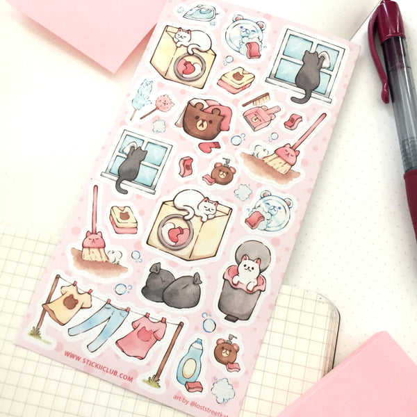 Cat Chores Sticker Sheet