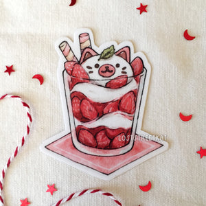 Strawberry Purrfait Vinyl Cat Sticker - loststreetkat