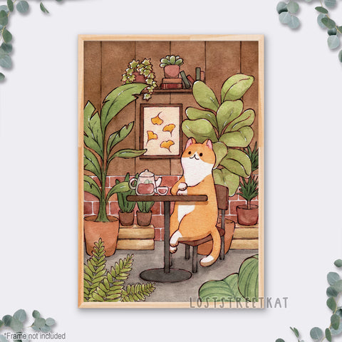 "Tea House Cat Print (12""x18"")"