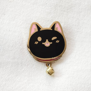 Black Cat Hard Enamel Pin with Bell