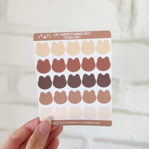 Cat Shaped Planner Stickers (Coffee)