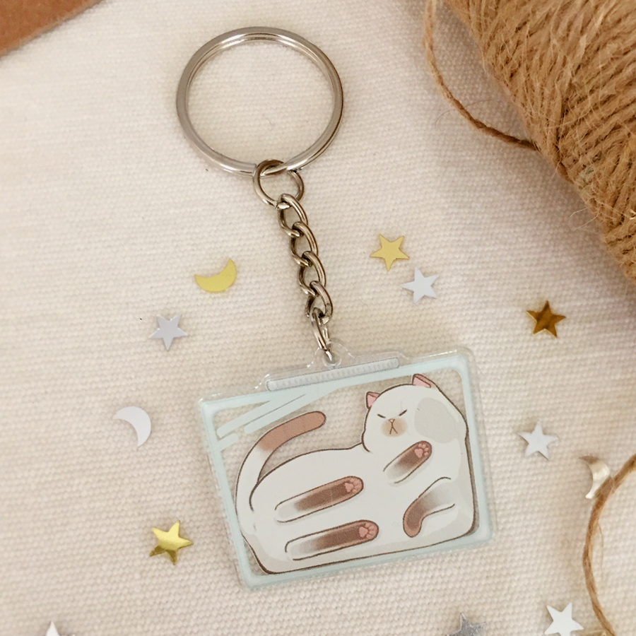 Cats Are Liquid (Puyo) Acrylic Keychain - loststreetkat