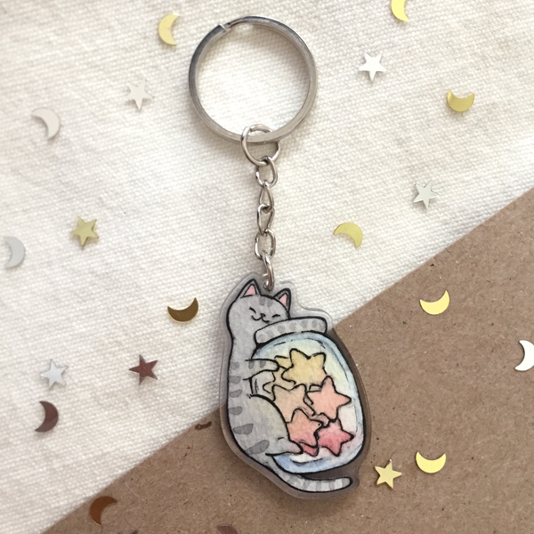 Star Jar Kitty Acrylic Keychain - loststreetkat