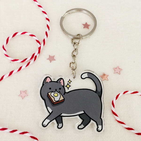 Toast Cat Keychain