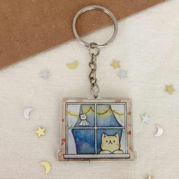 Window Cat Keychain - loststreetkat