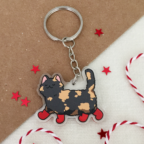 Tortie Cat with Boots Keychain