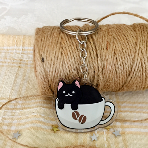 Coffee Cat Keychain - loststreetkat
