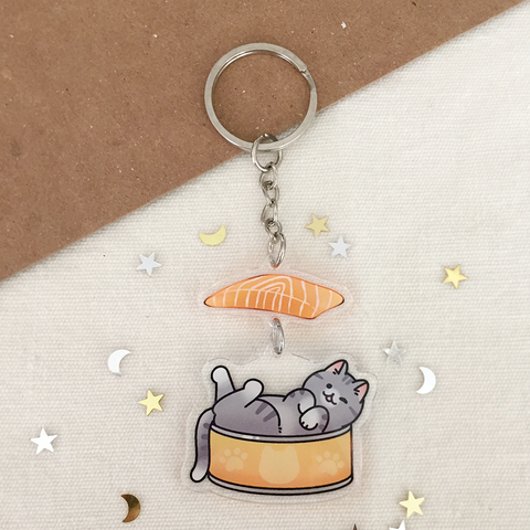 Salmon Cat 2-Part Acrylic Keychain