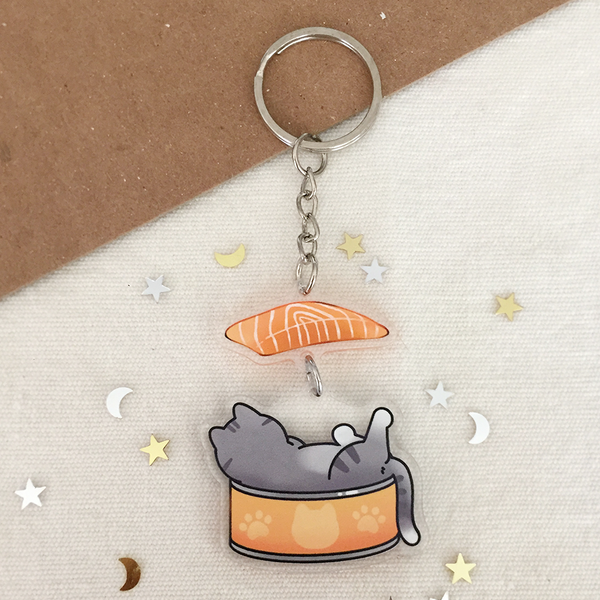 Salmon Cat 2-Part Acrylic Keychain - loststreetkat