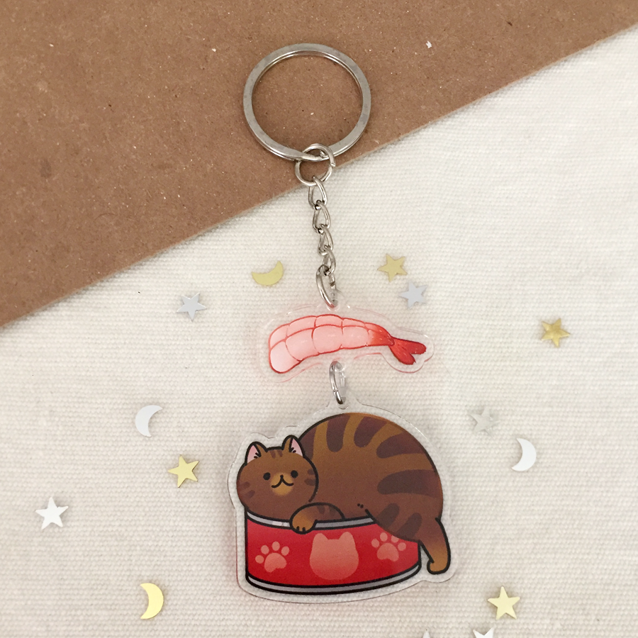 Shrimp Cat 2-Part Acrylic Keychain - loststreetkat