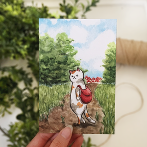 Journey Cat Postcard - loststreetkat
