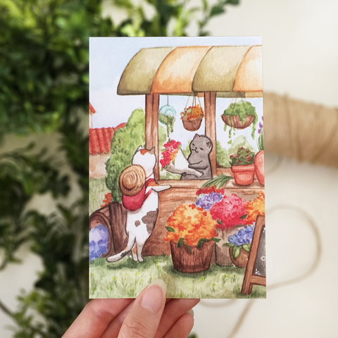 Flower Cart Postcard - loststreetkat