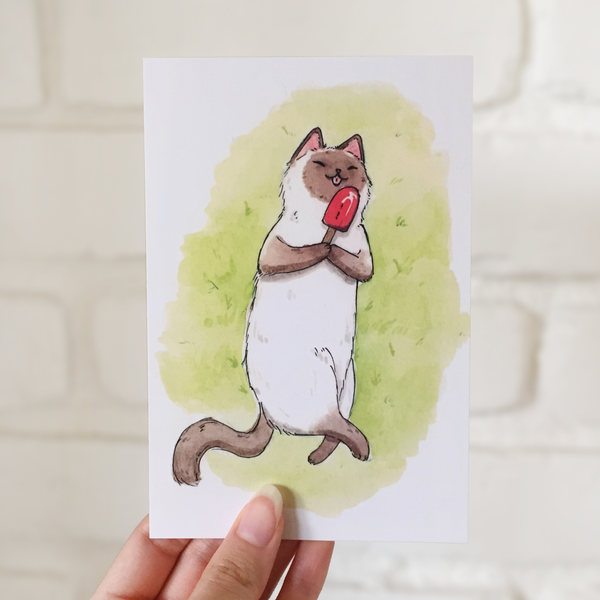 Popsicle Cat Postcard - loststreetkat