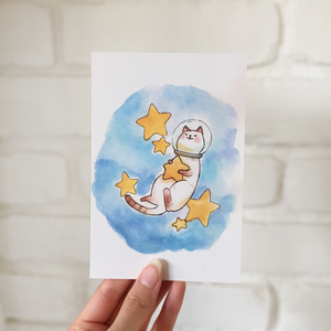 **SECOND** Astro Cat Postcard - loststreetkat
