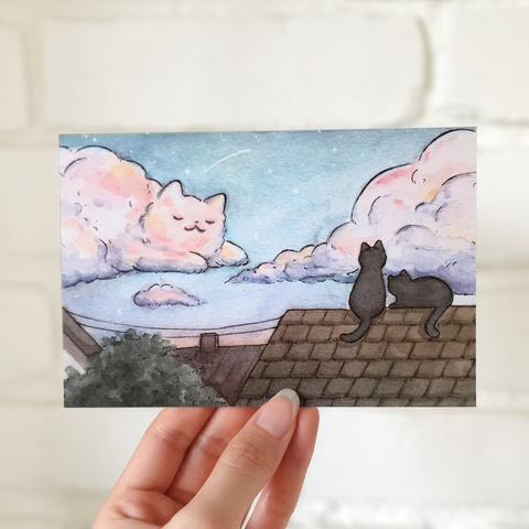 Cat Cloud Postcard - loststreetkat