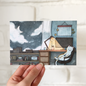 Desk Kitty Postcard - loststreetkat