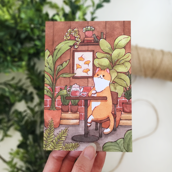 Tea House Cat Postcard - loststreetkat