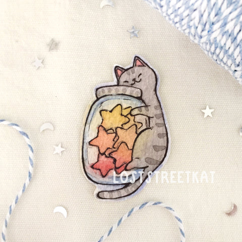 Star Jar Kitty Sticker - loststreetkat