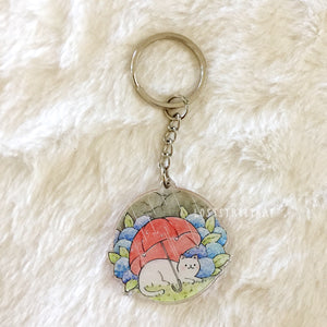 Umbrella Cat Keychain