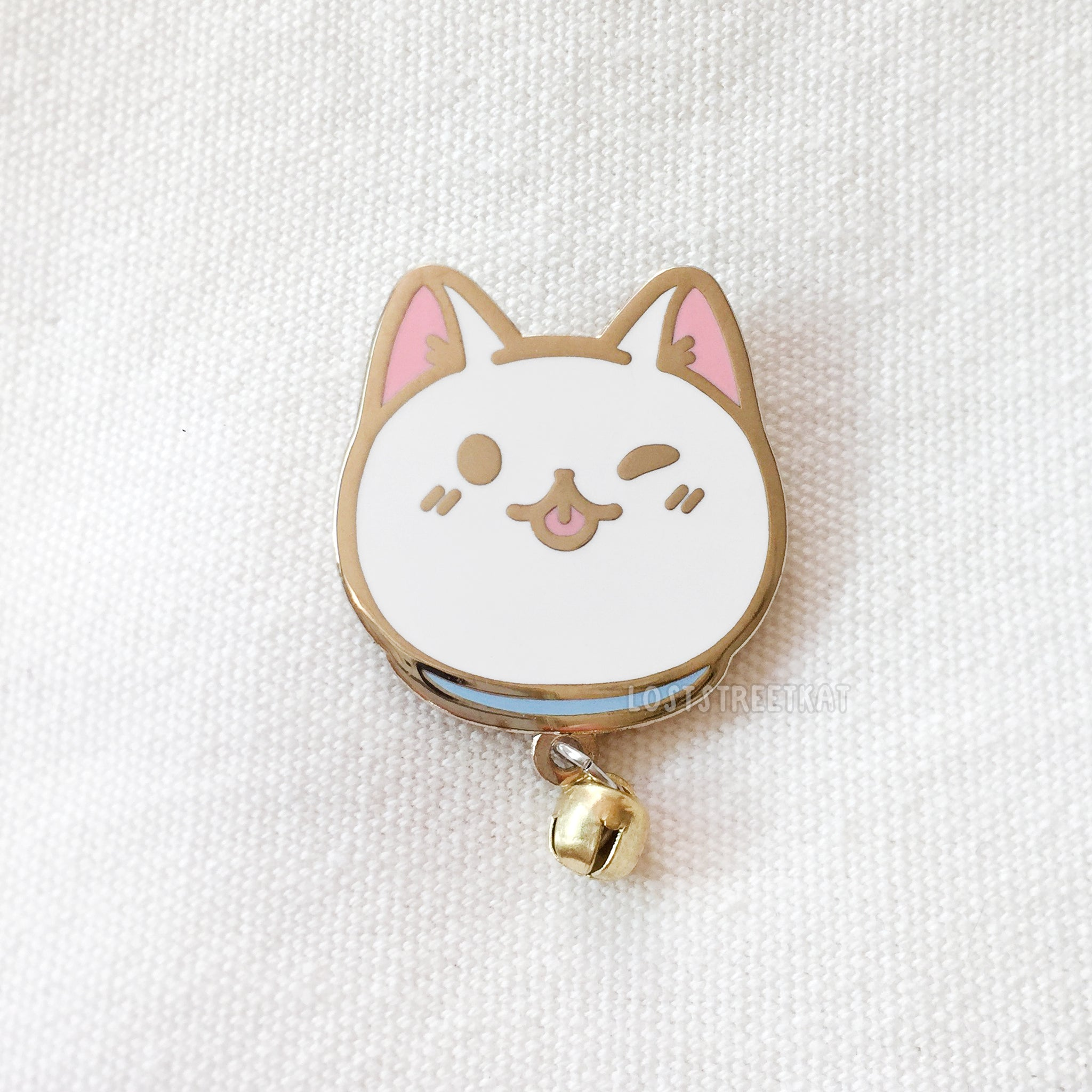 White Cat Enamel Pin With Bell- loststreetkat