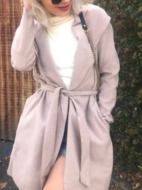 Solid Shawl Collar Long Sleeve Shift Trench Coats