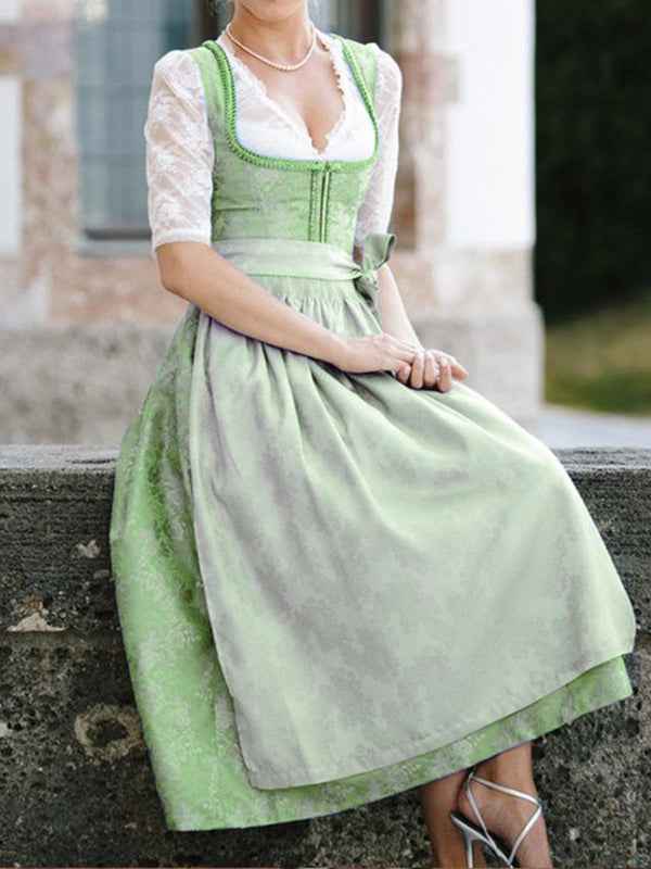 Floral Printed Dirndl Costume Festive Traditional Dresses