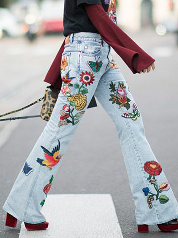 Light Blue Floral-Print Floral Holiday Denim Pants