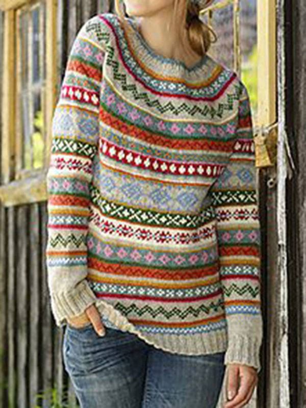 Multicolor Geometric Vintage Knitted Knitted Shirts & Tops