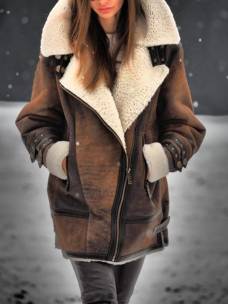 Winter Warm Faux Suede Leather Bomber Jacket with Fur Linning Fluffy Coat