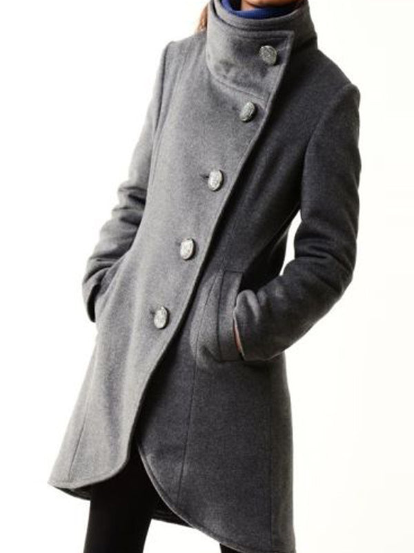 Gray Casual Stand Collar Cotton-Blend Plain Outerwear