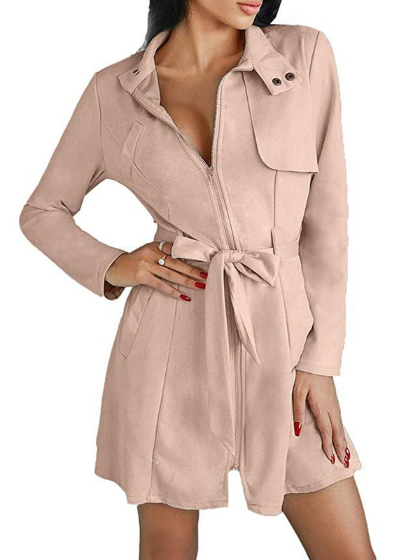 Buttoned Cotton Turtleneck Long Sleeve Zipper-up Trench Coats With Belt