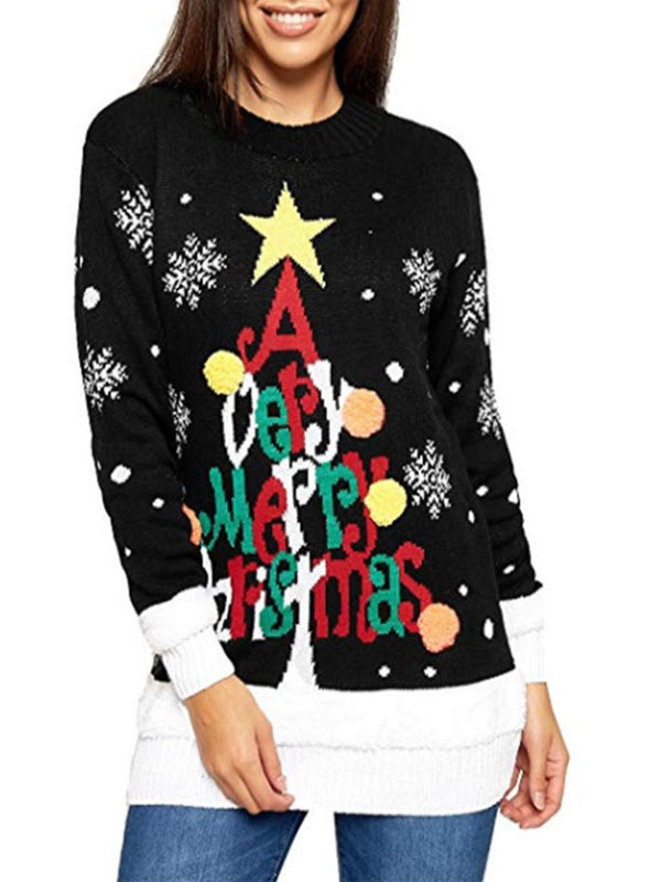 Casual Long Sleeve Knitted Women Christmas Sweaters