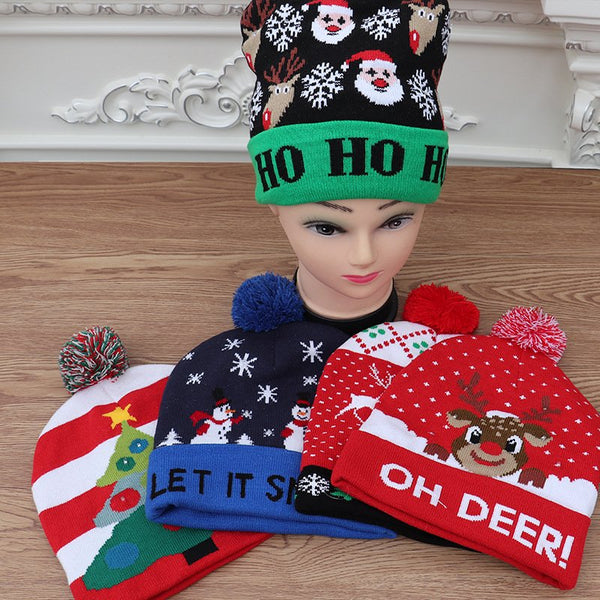 Adult Children's Knitted Christmas Hat Colorful Shiny Knit Hat