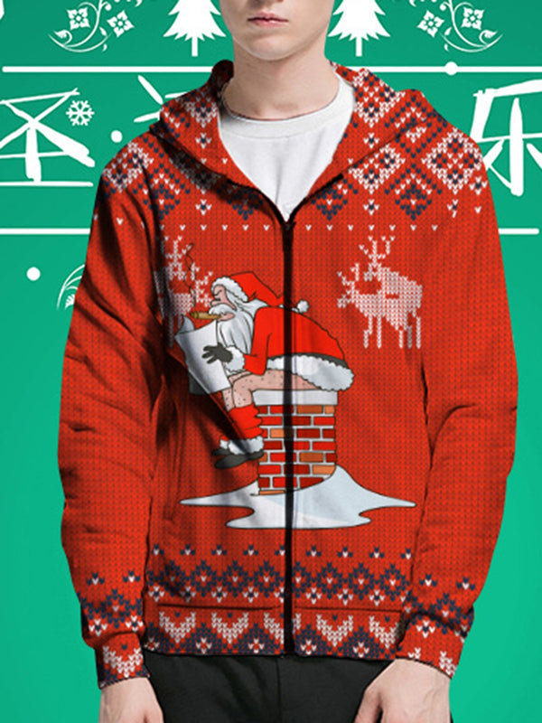 Christmas Reindeer Snowflake Santa Print Hooded Couple Top