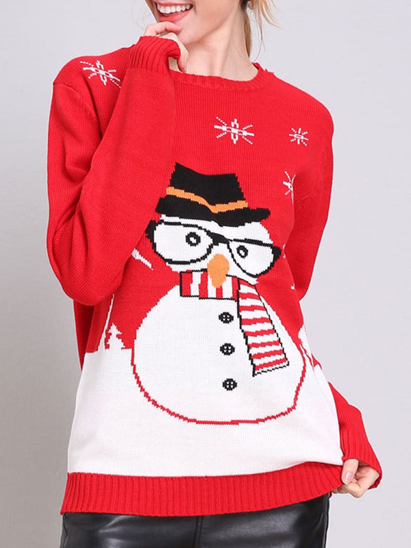 Red Crew Neck Holiday Printed Long Sleeve Sweater
